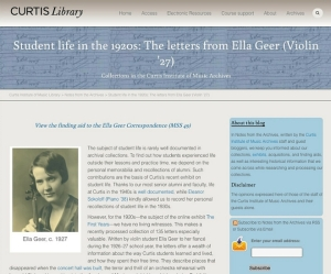 Blog post about a letters from a Curtis student describing student life in the 1920s