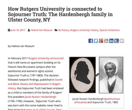 screen shot of blog post about connection Rutgers-Sojourner Truth